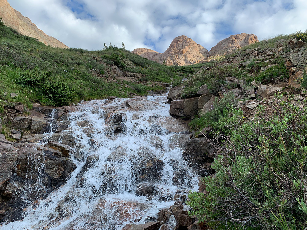 Cascading Waterfall at Chicago Basin Colorado