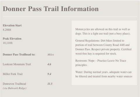 Donner Pass Trail Information