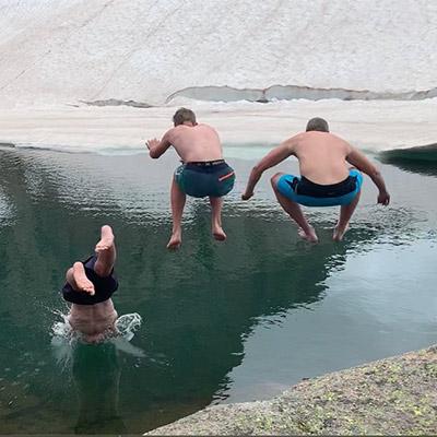 Jumping in to mountain lake